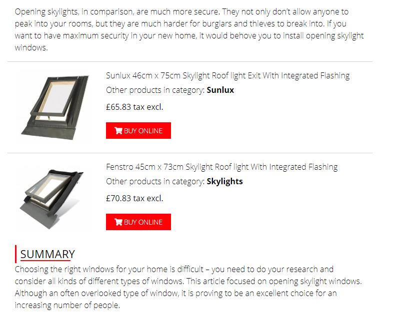 zrzut ekranu projektu bloga pokazującego produkty firmy