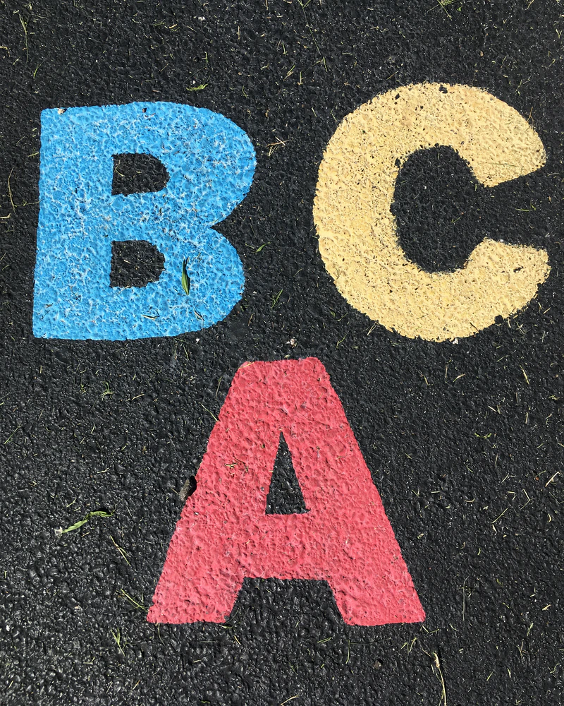 the letters 'A', 'B', and 'C' plastered on a surface